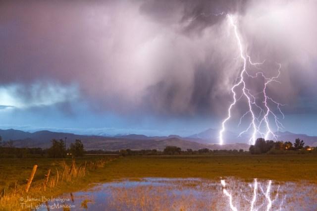 Lightning Striking Longs Peak Foothills 6A800s Triple Lightning Strikes Longs Peak Boulder County Colorado 6