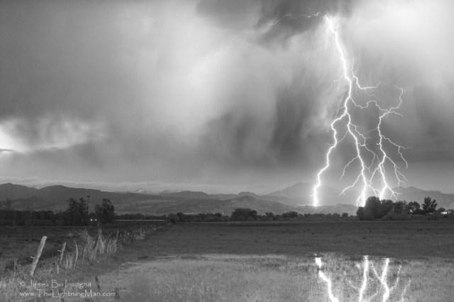 Lightning Striking Longs Peak Foothills 6aBW800s Longs Peak Triple Lightning Strikes Boulder County Colorado 6BW