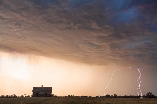 Lightning Striking On The Colorado Prairie Plains Wall Art