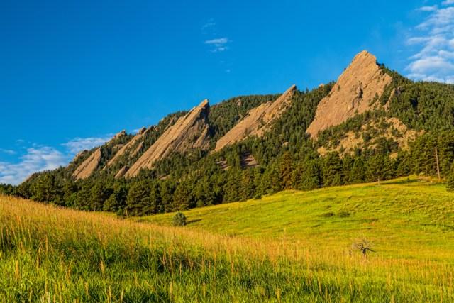 Boulder Colorado Flatirons Sunrise Golden Light