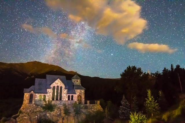 Milky Way Perseid Meteor Shower and Chapel On The Rock Metal Wall Art