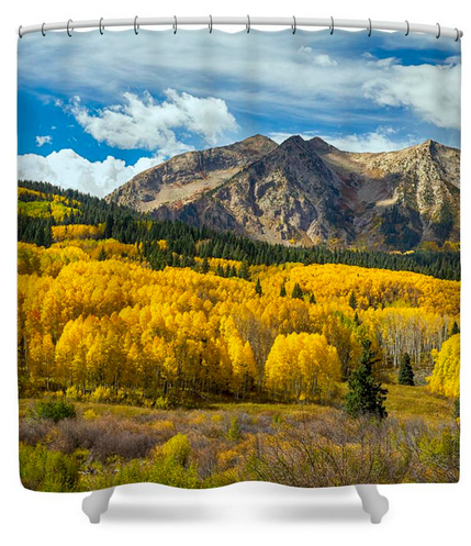 Colorado Rocky Mountain Fall Foliage Shower Curtain