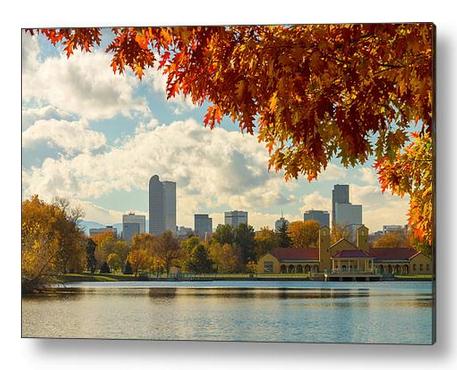 Denver Skyline Fall Foliage View Acrylic Print