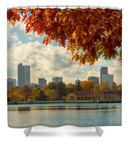 Denver Skyline Fall Foliage View Shower Curtain