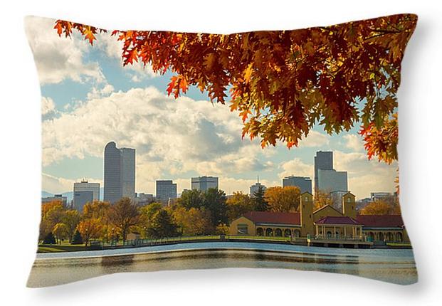 """Denver Skyline Fall Foliage View Throw Pillow 20"""" x 14"""""""