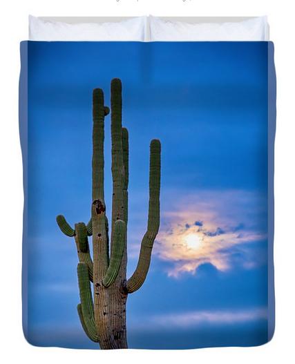 Giant Saguaro Cactus Golden Cloudy Full Moonset Queen Duvet Cove