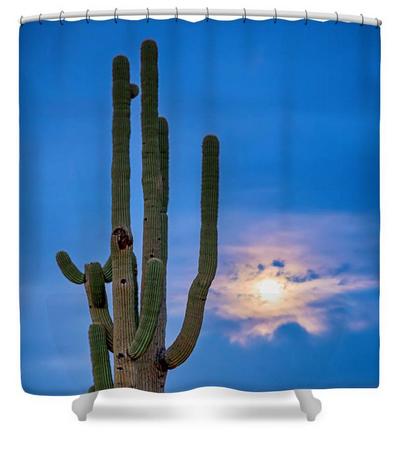 Giant Saguaro Cactus Golden Cloudy Full Moonset Shower Curtain