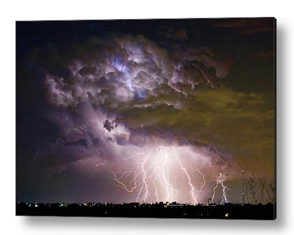 """Highway 52 Storm Cell - Two and half Minutes Lightning Strikes"" acrylic print by James BO Insogna. Ships within 3 - 4 business days and arrives ready-to-hang with all mounting hardware included. Choose from multiple sizes and two different mounting options (metal posts / hanging wire). The image is the art - it doesn't get any cleaner than that! All acrylic prints ship within 3 - 4 business days and arrive ""ready to hang"" with four aluminum mounting posts (Option #1) or hanging wire (Option #2). The high gloss of the acrylic sheet complements the rich colors of any image to produce stunning results. There are two different ways to mount your acrylic print. Option #1 (Mounting Posts) - Attach your print to your wall with four aluminum mounting posts. The cylindrical cap of each mounting post can be removed, allowing you to thread a small screw along the center axis of the of post and into the wall. When you're finished, simply reattached each cap, and you're done. The mounting posts act as stand-offs and keep your print separated from the wall by 1"". All of the required mounting hardware (i.e. posts, screws, and wall anchors) is included with your print. Click here for mounting details. Option #2 (Hanging Wire) - With this option, your acrylic print is attached to a 1/4"" thick black board which has a wooden frame and hanging wire attached to the back. There are no metal mounting posts at the corners. Simply put a nail in your wall, hang your print from the hanging wire, and you're done. Due to the thickness of the black board and mounting frame, your print is separated from the wall by 1.50"" Click here for mounting details."