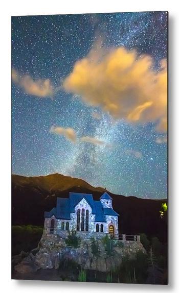 Chapel On The Rock Milky Way Sky Metal Print