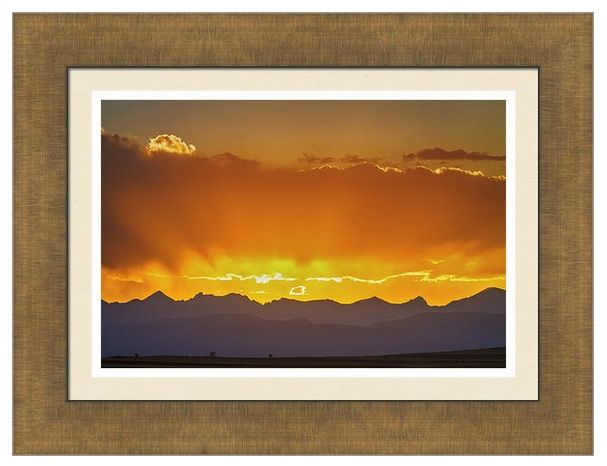 Colorado Rocky Mountains Golden September Sunset Sky Framed Prin