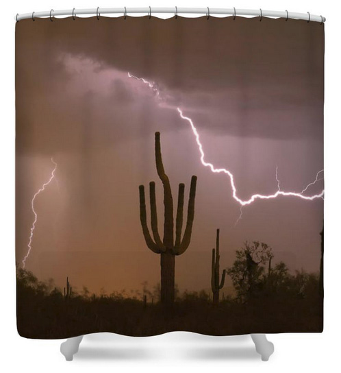 Sonoran Saguaro Southwest Desert Lightning Strike Shower Curtain