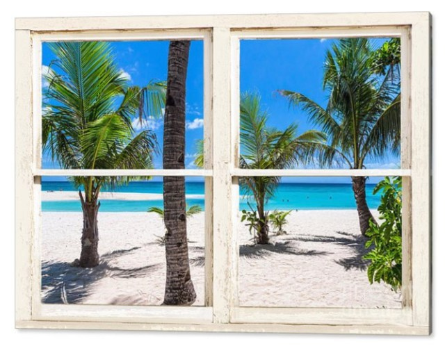 Tropical Island Rustic Window View Acrylic Print