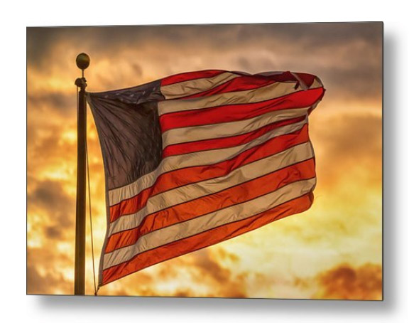 American Sunset On Fire Metal Print