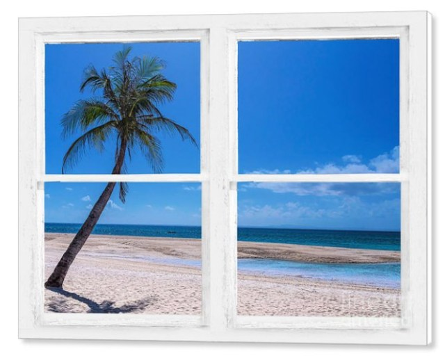 Tropical Paradise Whitewash Picture Window View Canvas Print