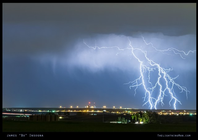 Northeast Colorado Lightning Strike and City Lights