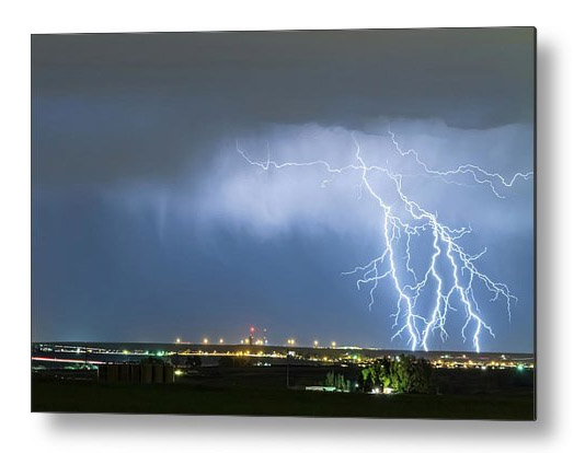 Northeast Colorado Lightning Strike And City Lights Metal Print