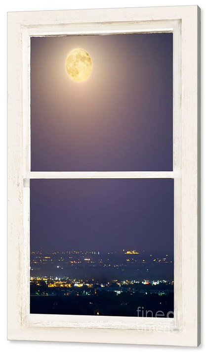 Super Moon Over City Lights View Through White Rustic Window Can