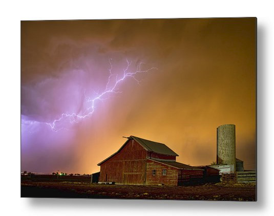 Watching The Storm From The Farm Metal Print