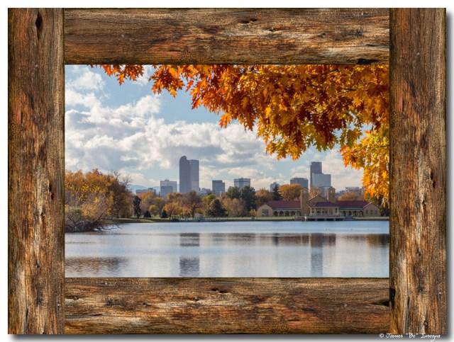 Denver City Skyline Barn Wood Window View