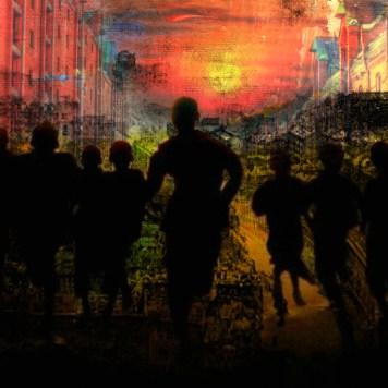 Turmoil City Sun Cityscape Art