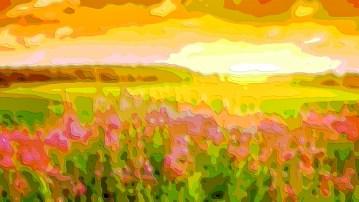 Landscape Flower Art Pink Gold