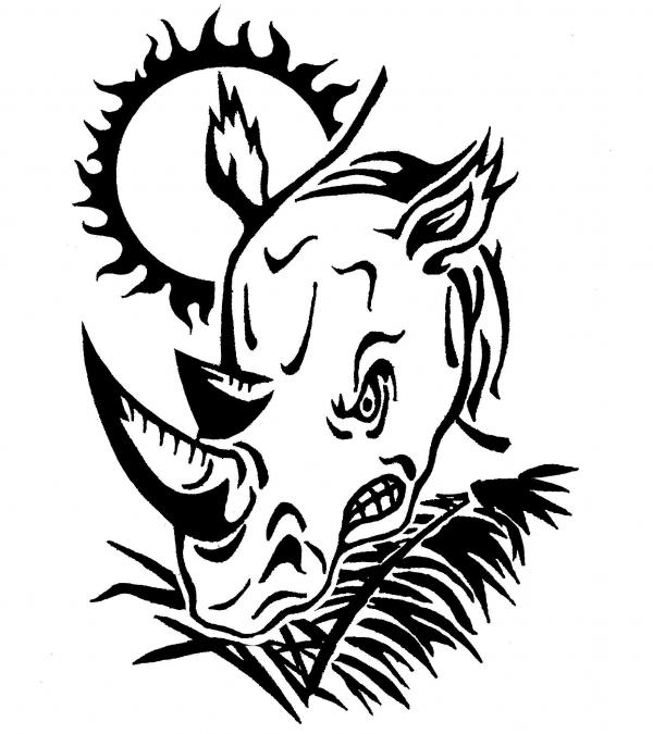 Tribal Rhino Tattoo