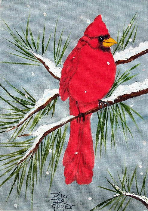 Cardinal In Winter Painting By Betty Lee Guyer