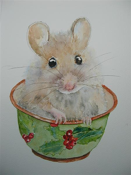 Christmas Mouse Painting By Betty Mulligan