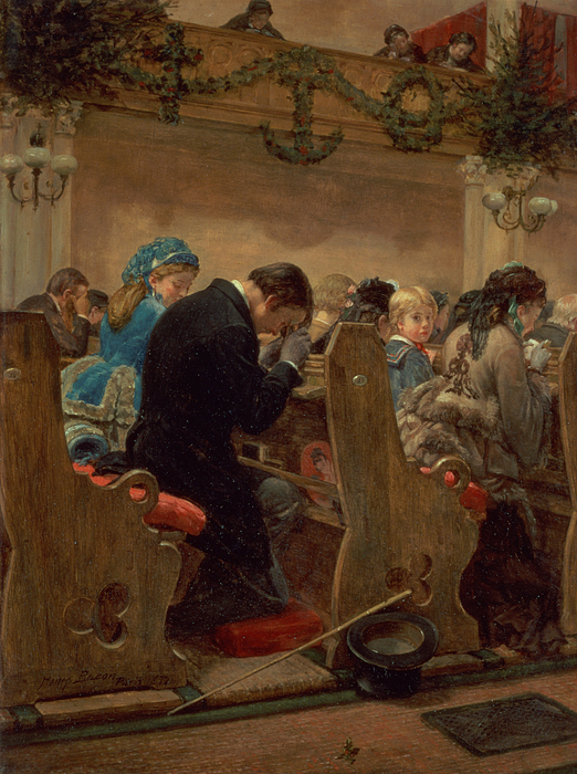 Christmas Prayers Painting By Henry Bacon