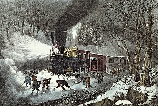 Currier And Ives Painting By American Railroad Scene