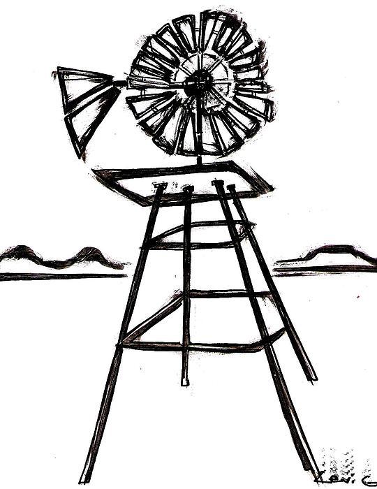 Windmill Drawing by Levi Glassrock