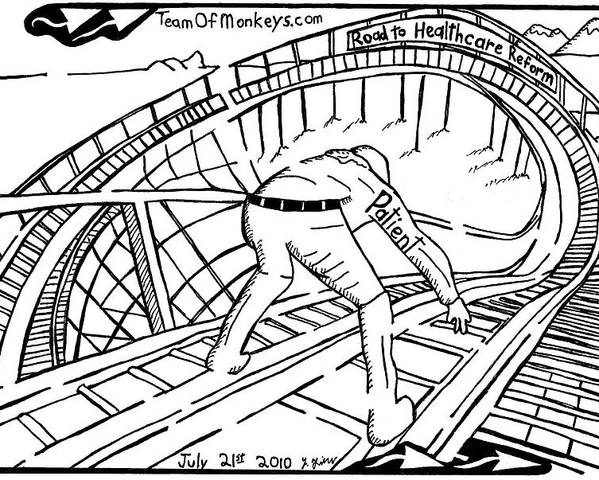 Maze Cartoon Of Patient On The Rollercoaster Of Healthcare