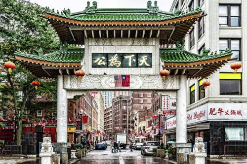 The large ornate gate at the Chinatown entrance in Boston, MA