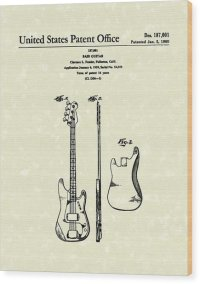 Fender Bass Guitar 1960 Patent Art Drawing by Prior Art Design