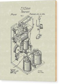Telegraph 1869 Patent Art Drawing by Prior Art Design