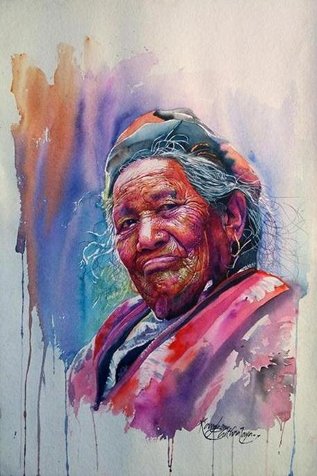 Watercolor Portrait Paintings-Interview with artist Kannan Chitralaya