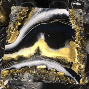 dark blue, white and gold mini geode