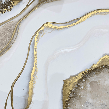 16 x 16 clear quartz resin geode