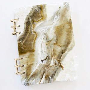 white and gold clear quartz journal