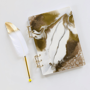 white and gold clear quartz scripturient journal