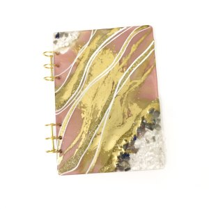 Pink and Gold Sodalite Clear Quartz Journal