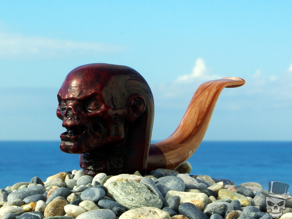 M-268d-briar – The Crypt Keeper – Tobacco Briar Wood Smoking Pipe by Oguz Simsek.