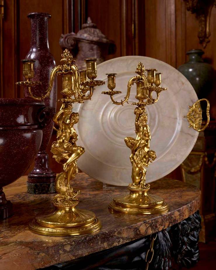 STEINITZ, A pair of three-light candelabra with a bacchante and a Satyr
