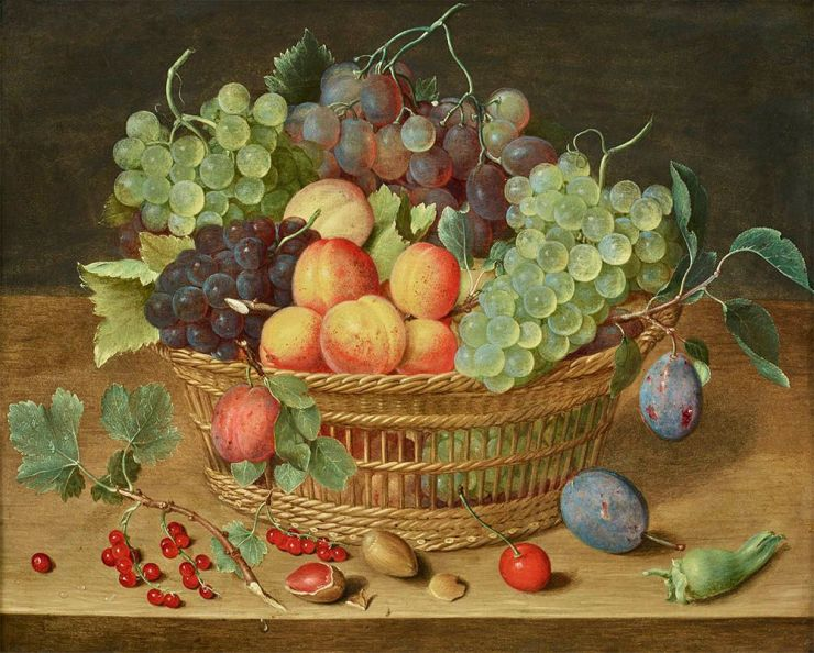 GALERIE FLORENCE DE VOLDÈRE, Isaak SOREAU, Basket of grapes, apricots and branch of currants on a ledge