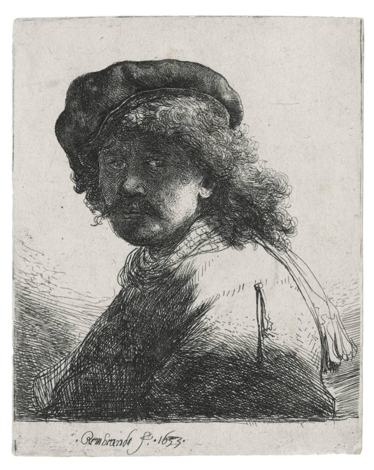 GALERIE PAUL PROUTÉ, REMBRANDT, Self Portrait in a Cap and Scarf with the Face Dark