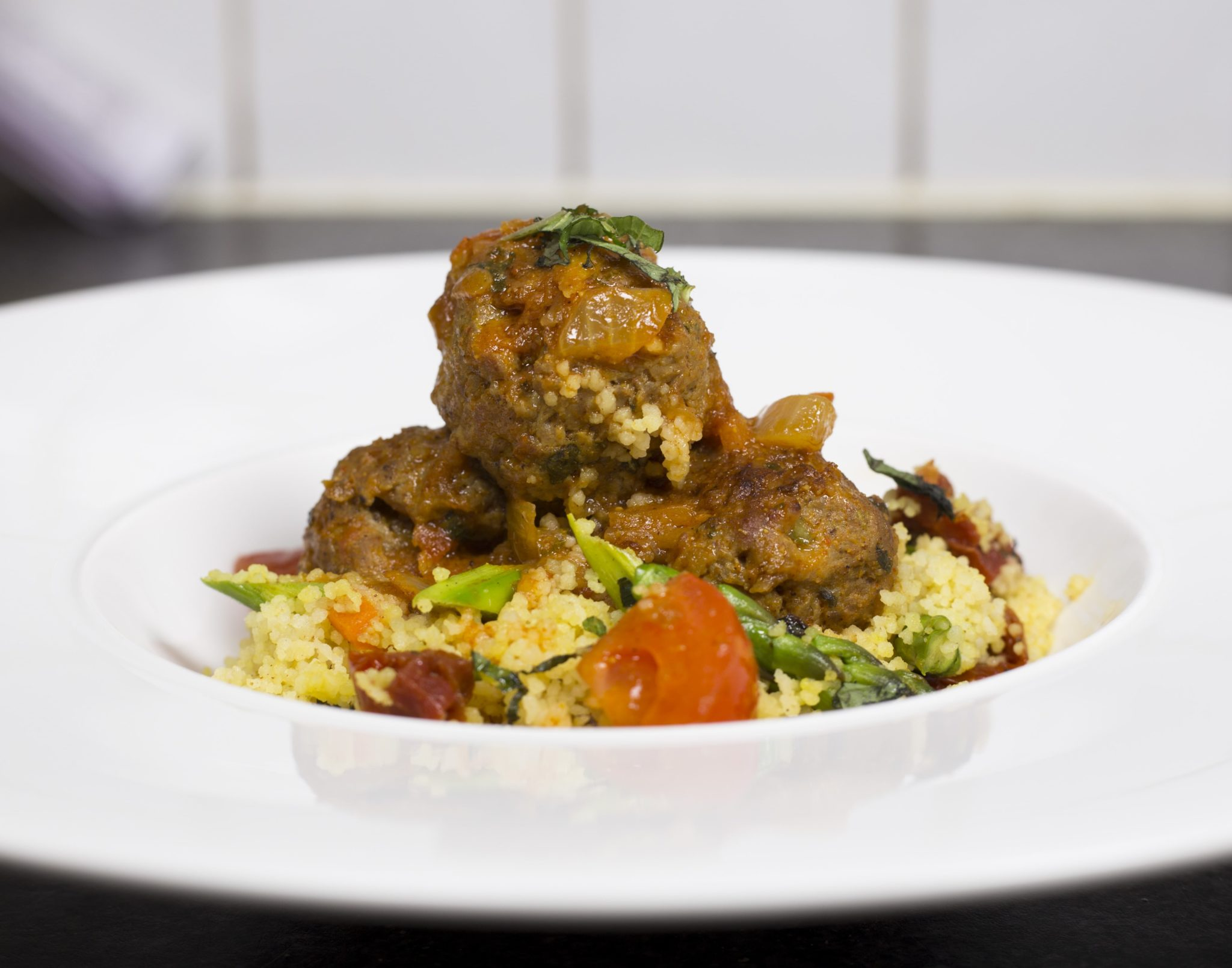 Turkey Kofts Curry with Cous cous asparagus Upma