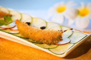 panko crusted bharwan mirch, goat's cheese mousse, chilli aam papad chutney