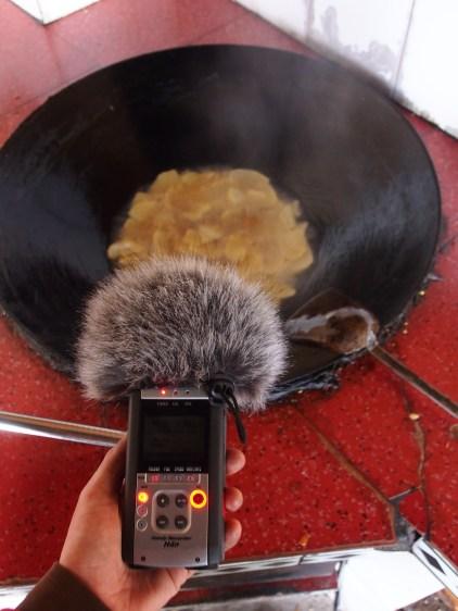 Recording potato chips frying.