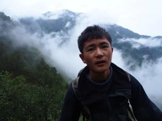 HeJiYu, climbing mountains.