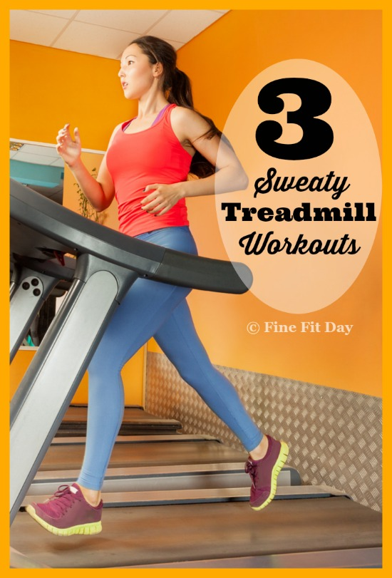 Three Treadmill Workouts - Don't get bored on the treadmill! Try one of these guaranteed to make you sweat workouts for the treadmill to keep on running and maintain your fitness when you can't get outside for your run.